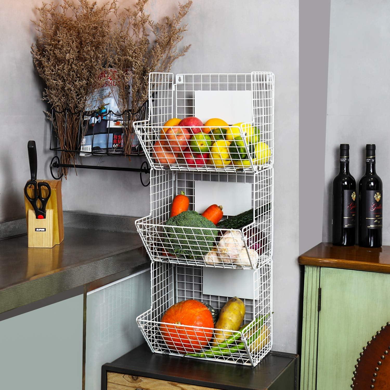 Merya - Cesta de alambre de metal para colgar en la pared, organizador de 3 estantes con ganchos para colgar pizarras, rústico para cocina, frutas, ...