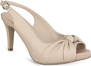 MaxMuxun Women Shoes Mid Kitten Heels Slingback Peep Toe Dress Pumps