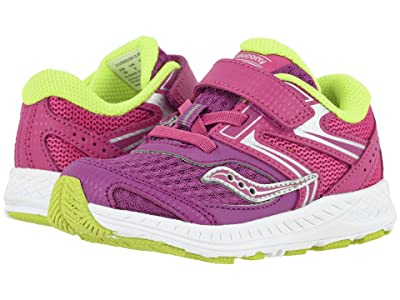 Saucony Kids S-Cohesion 13 Jr (Toddler) (Purple/Pink/Green Leather/Mesh) Girls Shoes