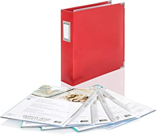 We R Memory Keepers Photo Picture Leather 3 Ring Album Binder- 8.5 x 11 Red ~ with (5) 10 Pack 8.5 x 11 Sheet Protectors Perfect Scrapbook Album and Page Protectors Set