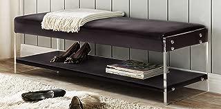 Iconic Home Chaplin PU Leather Modern Contemporary Flat Seat Bottom Shelf Bench, Black