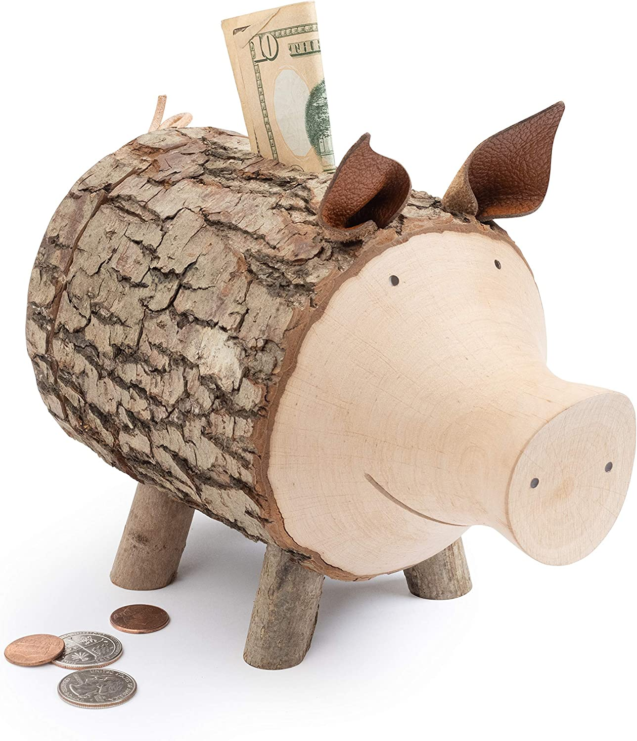 Manufacturer regenerated product Max 68% OFF Forest Decor Wood Piggy Bank Co Savings Handcrafted Money