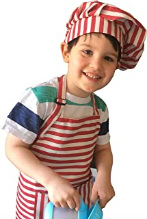 Dapper&Doll Red Stripe Kids Chef Hat and Apron for Boys Girls Ages 4-10 - Baking Cooking Kitchen Gift Set