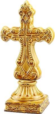 Stonebriar Burnt Orange Cross Pedestal, Worn Amber