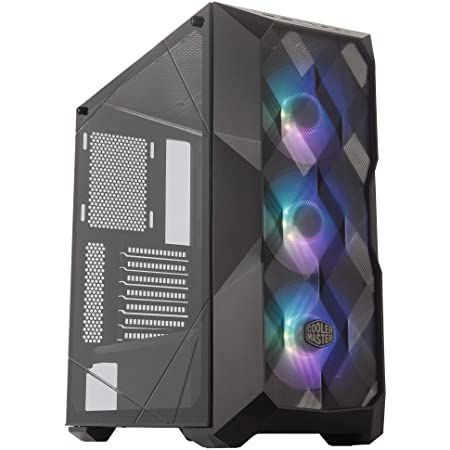 """Cooler Master MasterBox TD500 Mesh Airflow ATX Mid-Tower with Polygonal Mesh Front Panel, Crystalline Tempered Glass, E-ATX Up to 10.5"""", Three 120mm ARGB Fans & ARGB Lighting System"""