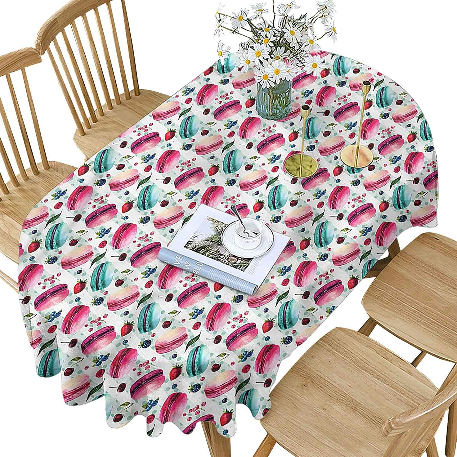 Kitchen Polyester Oval Tablecloth High quality Pattern Macarons Seasonal Wrap Introduction Berries Patte