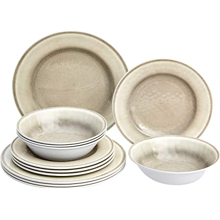 Amazon Basics 12 Piece Melamine Dinnerware Set Service For 4 White Crackle Glaze Dinnerware Sets