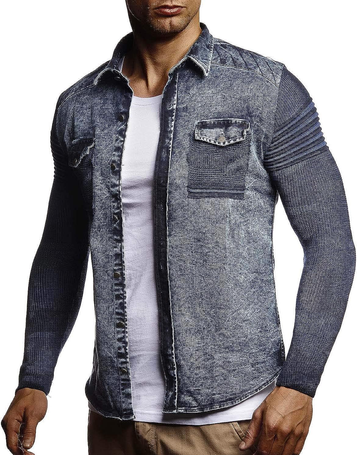 Leif Nelson Hombres de la Camisa de Manga Larga Jeans Mangas de Punto LN-3560