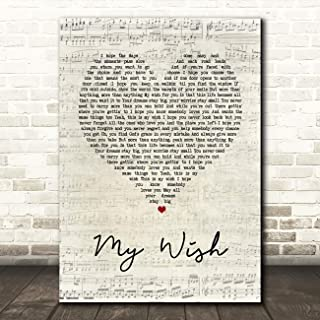 My Wish Script Heart Song Lyric Quote Wall Art Gift Print