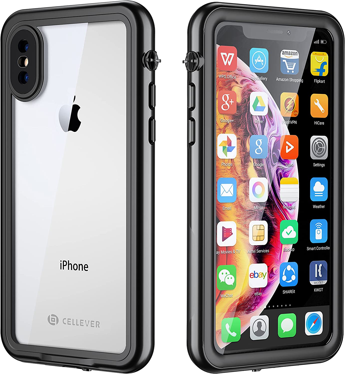 CellEver Compatible with iPhone Xs/iPhone X Waterproof Case Fully Sealed Clear Slim Military Grade Protection IP68 Certified SandProof Snowproof Full Body Protective Transparent Cover (Black)
