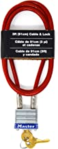 Master Lock 719D 3' Long x 3/16' Diameter Cable with Integrated Laminated Steel Padlock