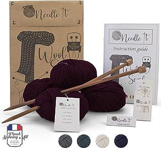 Needle It – Kit Tricot pour débutant Adulte Complet avec Aiguilles à Tricot – Écharpe en Laine à Tricoter soi-même - Idée ...