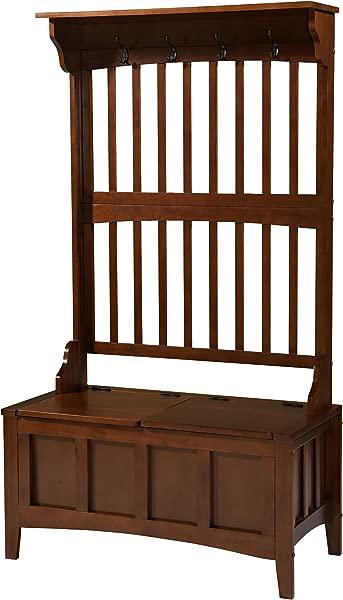 Linon 84017WALC 01 KD U Hall Tree With Storage Bench 36 W X 18 D X 64 H Walnut
