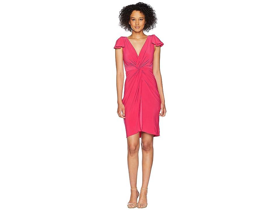 Taylor Flutter Sleeve Knot Jersey Dress (Fuchsia) Women