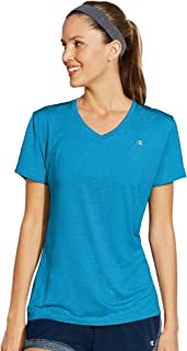 Champion Women's Striped Double Dry V-Neck Tee