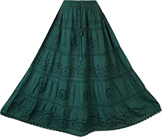 a79601b08670 Doorwaytofashion Cotton and Lace Embroidered Peasant Gypsy Boho Casual  Festival Summer Skirt UK One Size 10