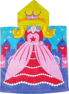 Kreative Kids Princess 100% Cotton Poncho Style Hooded Bath & Beach Towel with Colorful Double Sized Design