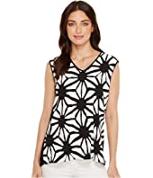 Vince Camuto - Tribal Starlight Mix Media V-Neck Top