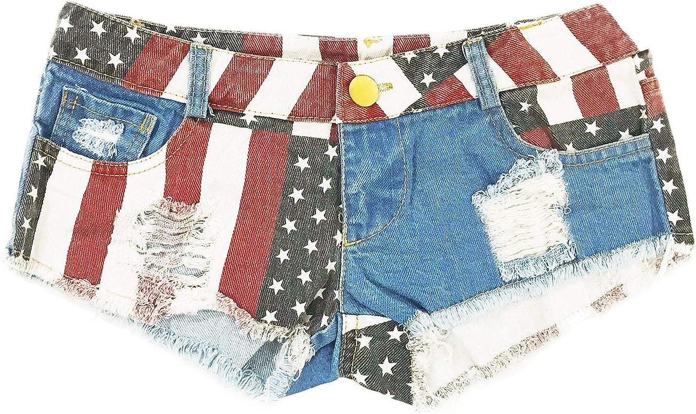 Flygo Women's Button Zipper American Flag Print Low Waist Mini Denim Shorts