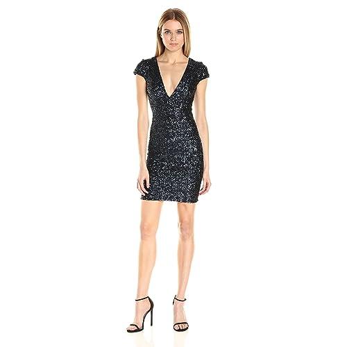 61f3e71776 Dress the Population Women s Zoe Cap Sleeve Plunging Sequin Mini Dress