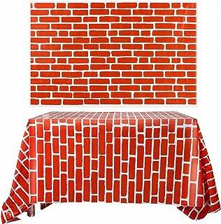 Chuangdi 2 Sheets 4.5 x 9 Feet Brick Decal Photo Brick Wall Backdrop Brick Wallpaper for Winter/Christmas Party (Red Brick)