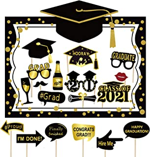 2020 Graduation Selfie Photo Booth Frame Black and Gold with 18Pcs Graduation Photo Booth Props, Upgraded Version with Sup...