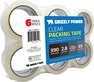 Grizzly Power Clear Packing Tape Refill Rolls for Shipping, Moving Packaging - True 2 Inch x 65 Yards, 2.8mil Thick, 6 Rolls