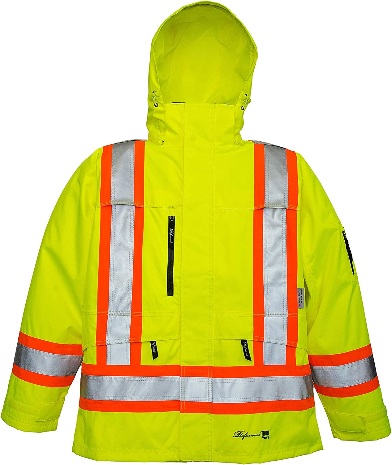 VIKING Professional Thor 300D Trilobal Waterproof and Windproof Hi-Vis Hooded Safety Jacket, Green, XX-Large