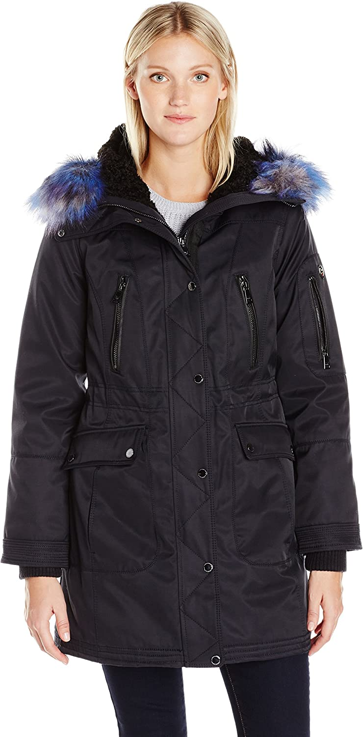 1 Madison Women's Bonded Cotton Parka with Multi color Faux Fox Trimmed Hood