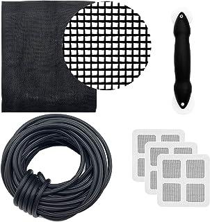 Alpurple Screen Door Repair Kit with Rolling Tool – Replace The Screen on Windows or Patio Doors- Charcoal Fiberglass Scre...
