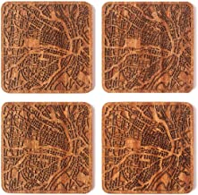 St. Louis, MO Map Coaster, Set of 4, Sapele Wooden Coaster with city map, Multiple city optional, Handmade