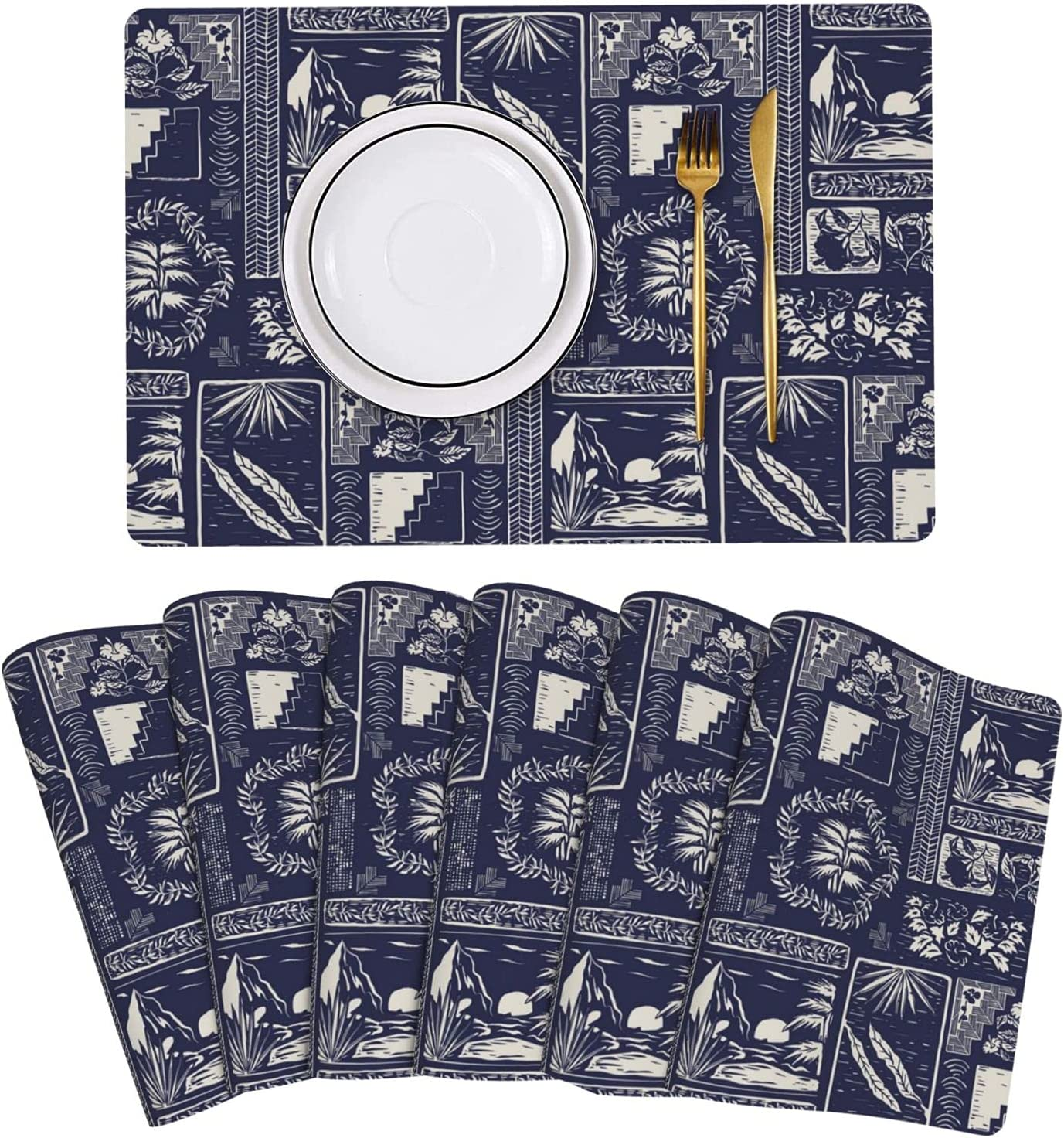 Hawaii Tropical Symbol Navy Placemat At the price of surprise NEW before selling Leather Table Mats Set 6