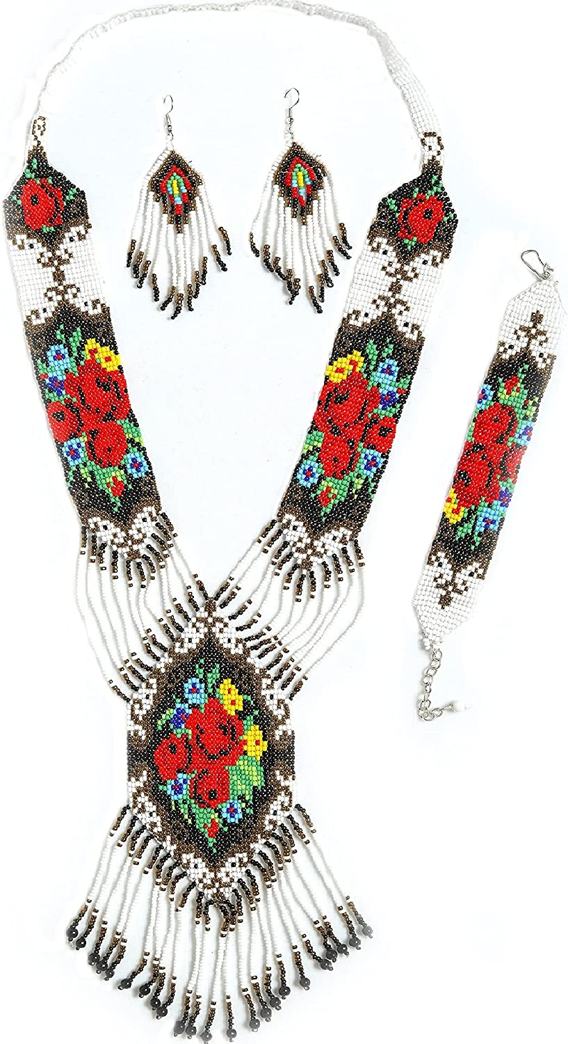 Tahera Native American Jewelry for Women statement seed beaded white western handmade necklace, earrings and bracelet.Bohemian colorful summer bead bib set for women.