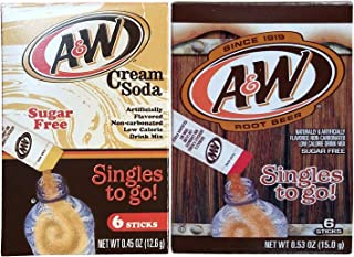 A & W Singles To Go Drink Mix Root Beer + Cream Soda Variety Pack Bundle - 12 Boxes w/6 pouches each of Each Flavor!