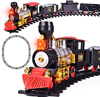FUN LITTLE TOYS Train Set with Lights and Sounds for Under The Tree, Electric Toy Train with Railway Tracks for Kids, Gift...