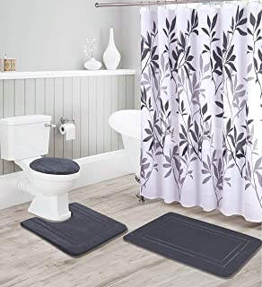 Kids Zone Home Linen Charcoal 16pc Bathroom Accessory Set - Non-Slip Bath Mat, Non-Slip Contour Mat, Toilet Lid Cover and Waterproof Shower Curtain with Rustproof Metal Roller Hooks