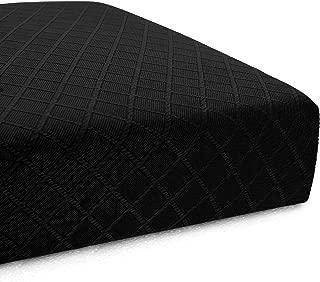 CHUN YI Stretch Polyester and Spandex Rhombus Cushion Slipcovers Multi-Purpose Sofa Seat Cushion Cover for 3-Seater Cushion (Black, Sofa Cushion)