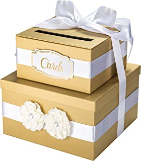 Wedding Card Box - 2 Tier Gold - Perfect for Weddings, Bridal Showers, Baby Showers, Birthdays, Graduations – Large Gift Card Box with Satin Ribbon, 2 Flowers, and Gold Foil Cards Label