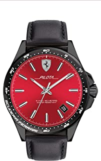 Ferrari Mens Quartz Watch, Analog Display and Leather Strap 830525