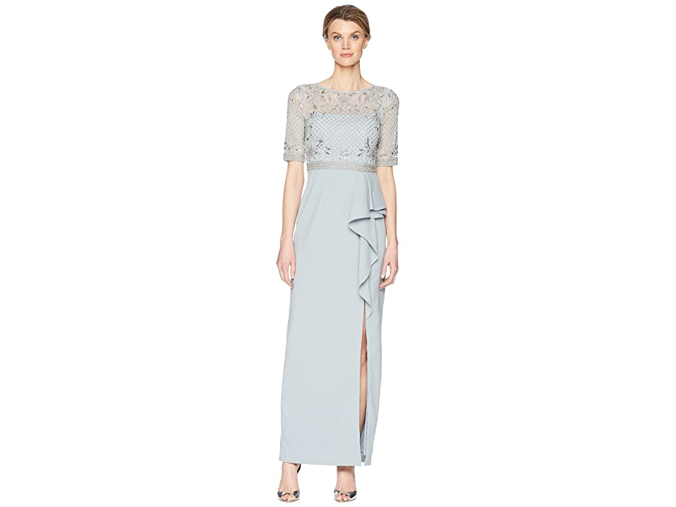 Image of Adrianna Papell 3/4 Sleeve Beaded Bodice Mob Gown with Ruffle Crepe Skirt (Blue Heather) Women's Dress