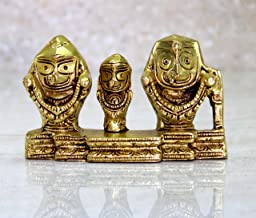 eSplanade Brass Lord Puri Jagannath, Balaram and Subhadra maa Idol for Decor Idol Murti Statue - 2.75 inches