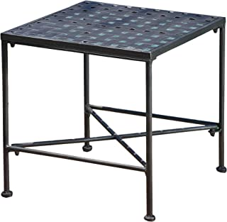 Christopher Knight Home 296745 Kent Outdoor Black Iron End Table, Brushed Silver