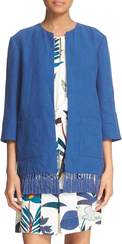 Tory Burch Emily' Fringe Trim Linen Jacket 2