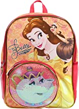 Disney Princess Belle With Mrs. Potts Sequins on Front Pocket 16 Inch Backpack