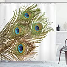 Ambesonne Peacock Decor Collection, Macro Peacock Tail Feather Like Third Eyes Vitality New Life Path Awakening Print, Polyester Fabric Bathroom Shower Curtain, 84 Long Extra, White Green