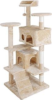 ZENY キャットタワー 据え置き 猫タワー 高さ133センチ 安定性抜群! おもちゃ 天然の麻紐の爪とぎポール 猫部屋2つ付き 柔らかなフランネル仕上げ(優しいベージュ)