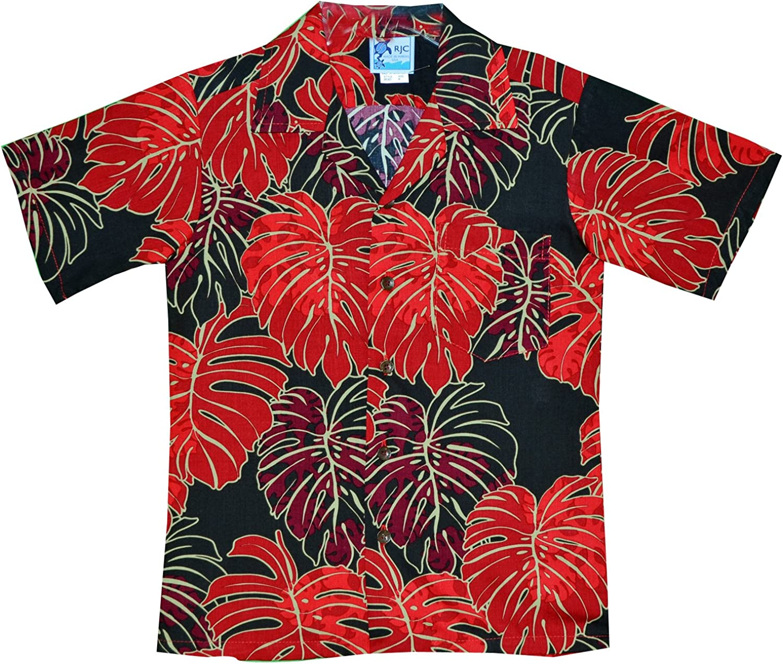 RJC Made in USA Boy's Christmas Monstera Leaf Aloha Shirt