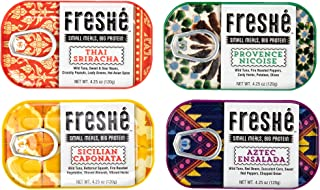 Freshé Gourmet Canned Tuna Variety Pack (4 Pack of 4.25 oz. tin) Premium Sustainably Caught Canned Tuna that Makes a Perfect High Protein Backpacking Food