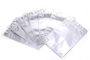 Mylar Bags Ziplock Long Term Food Storage Silver 3.8x6 Inch(Outside Size) 100pcs DS M&T
