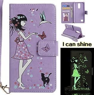 NEXCURIO [Glow in The Dark] LG K20 Plus / K20 V/Harmony / Grace LTE / K10 (2017) / V5 Wallet Case with Card Holder Folding Kickstand Leather Case Flip Cover for LG K20 Plus (Purple)
